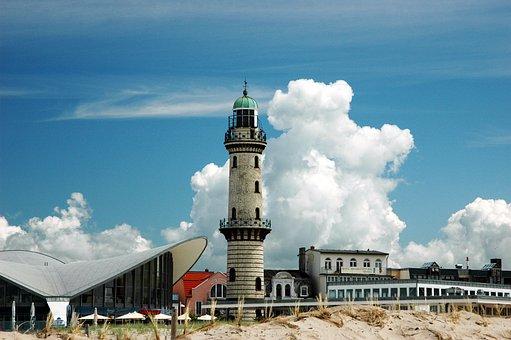 Warnemünde, Leuchtturm, Ostsee, Küste, Camping Markgreifenheide