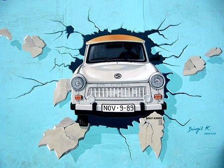 Graffiti, Mur De Berlin, Wall, Trabi