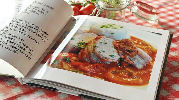 料理の本, レシピ, 食品, 調理する, 本, 紙, 手, 料理の, 食材