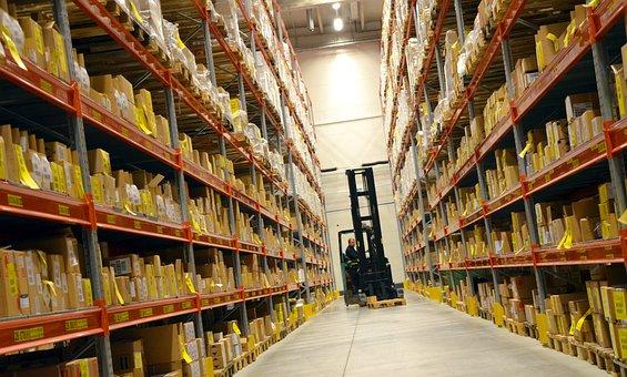 Logistics, Hall, Shelf, Forklift, Carry
