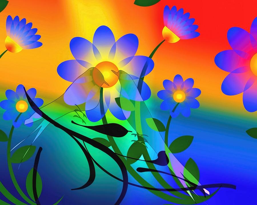 free illustration  abstract  flowers  bird  artwork - free image on pixabay