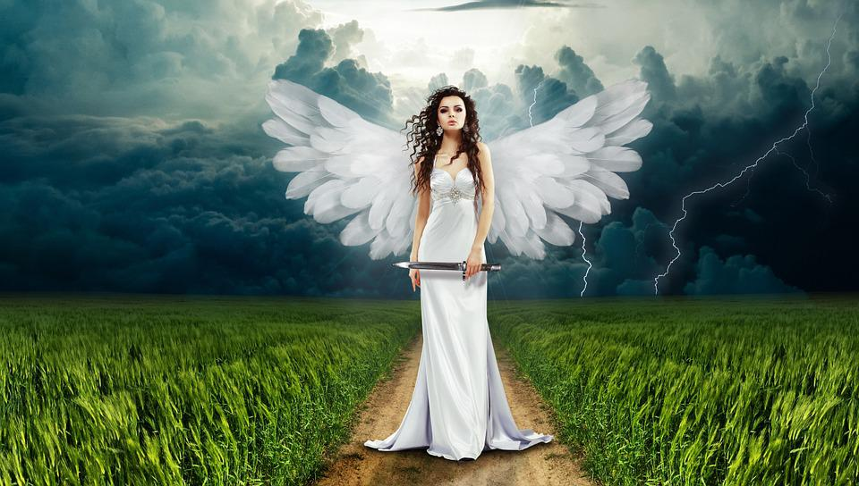 Angel, Nature, Clouds, Cloudiness, Grass, Way Landscape