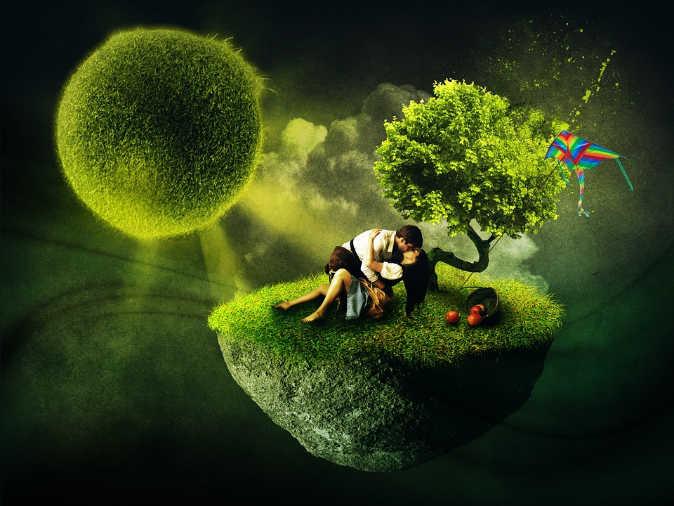 Free illustration surreal lovers dream world kiss The designlover
