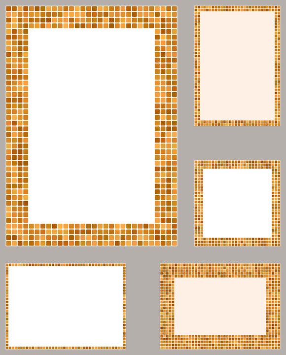 Pixel Mosaic Border Frame Template Set Brochure
