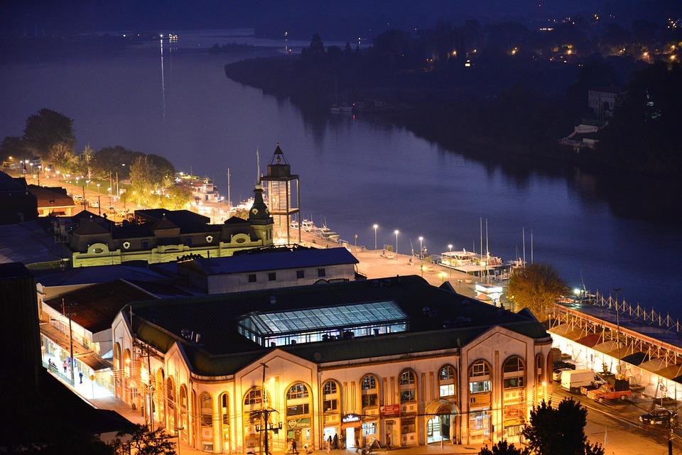 Nuit, Ville, Rivière, Valdivia, Luminosité