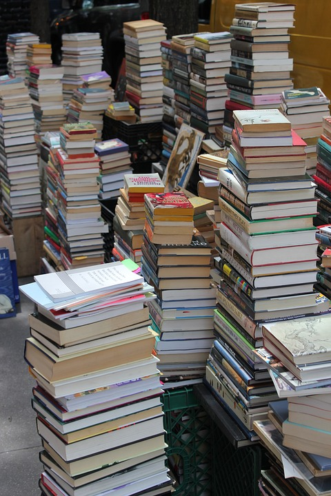 Books, Pile, Old Books, Street, Sale