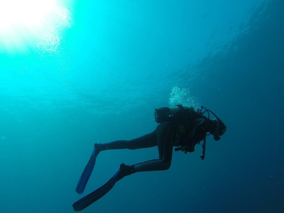 ダイバー, 海, 泡, スキューバダイビング, ブルー, マリン, ボトル, ダイビング, 潜水艦, 水