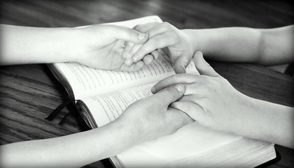 Holding Hands, Bible, Praying, Friends