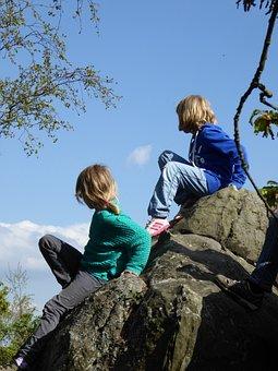 Children, Play, Climb, Girl, Friends