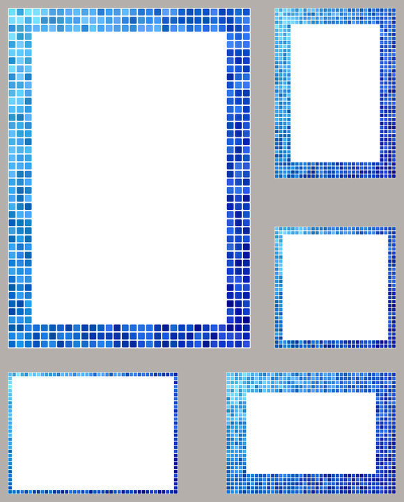 Free Vector Graphic Blue Frame Border Mosaic Pixel