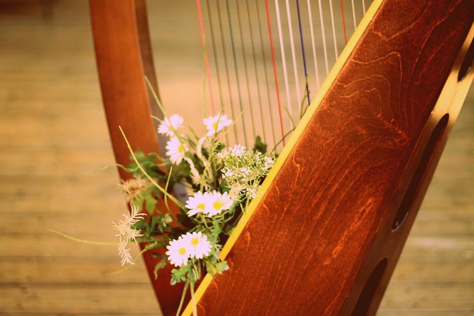 Harp, Harp With Flowers, Harp Strings, Design, Music
