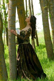 Girl, Princess, Dress, Forest, Wreath