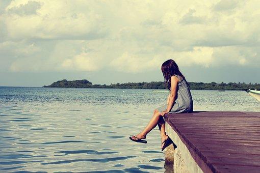 Sea, Pier, Female, Alone Woman, Sitting