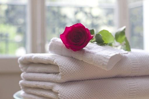 Towel Rose Clean Care Salon Spa White Bath