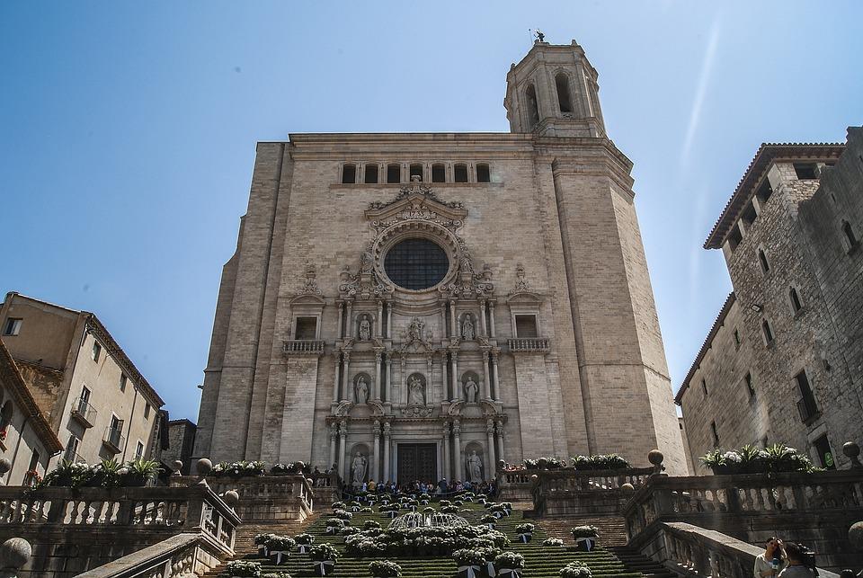 大教堂, 教堂, 赫罗纳, 外观, 建筑, 石, 体系结构