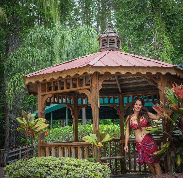 Free Photo: Woman Portrait, Gazebo, Tropical