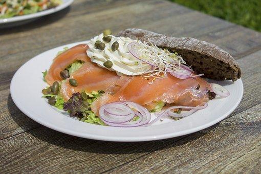 Salmon, Fish, Breakfast, Food, Board
