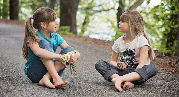 人々, 子供達, 女の子, トーク, 話す, 会話, エンターテイメント, 道