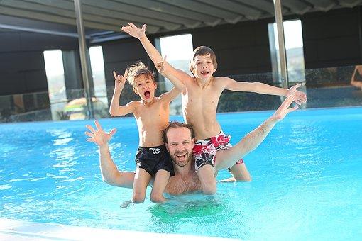 Swimming Pool, Children, Father, Fun