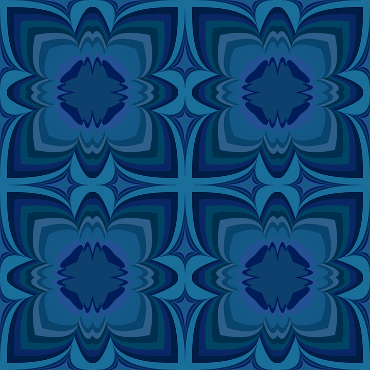 Blue Floral Wallpaper Pattern Stylized Flower