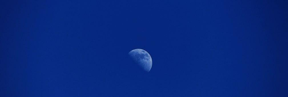 Moon, Sky, Blue, Half Moon, Space, Mood