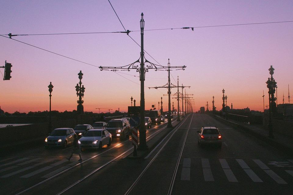 Санкт-Петербург, Мост, Белые Ночи, Машины