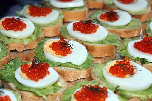 Egg Caviar Salad Bread Buffet Cold Buffet