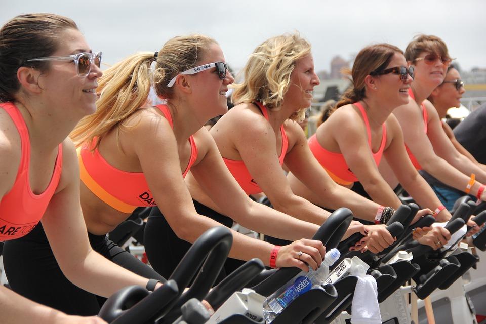 Team, Frauen, Gruppe, Weiblich, Fitness, Drehen