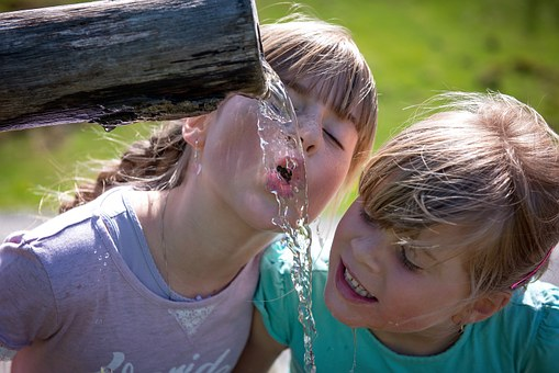 Human Children Girl Blond Water Fountain D