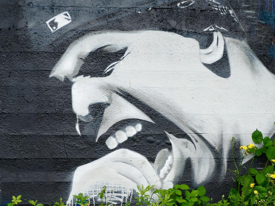 Graffiti, Wall, Twarz, Krzyk, Emocje, Sztuka