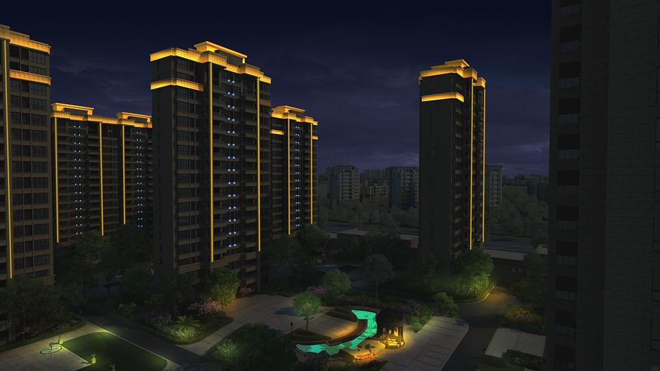 小区夜景, 灯光效果, 美丽小区, 小区, 效果图, 楼房效果, 城市, 3d