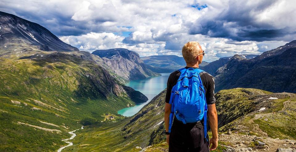 Backpacker, Góry, Panorama, Punktu Widzenia