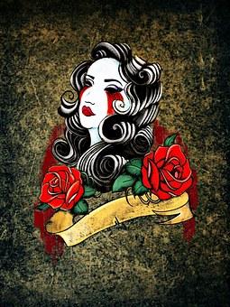 Tattoo Woman Weird Roses Face Tattoo Tatto