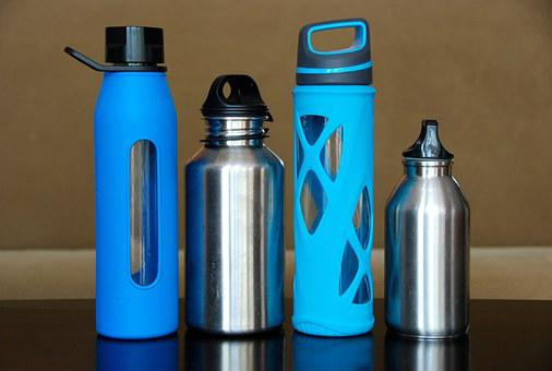 Bottles, Water, Steel, Glass, Stainless