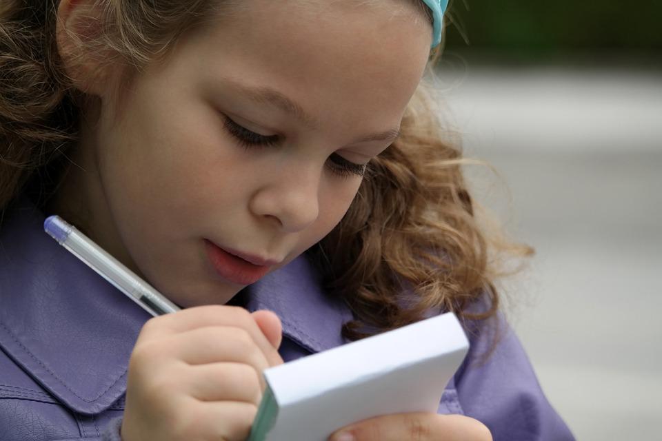Ragazza, Bambino, Scolaro, Studente, Notebook, Libro