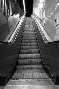 Escalator, Underground, Subway, City