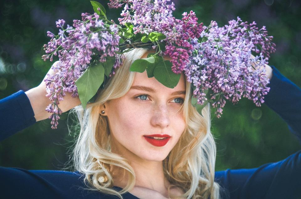 女の子, 春, ライラック, 花, 肖像画, 花輪, ガーランド