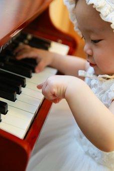Piano, Baby, Girl, Musician, Piano