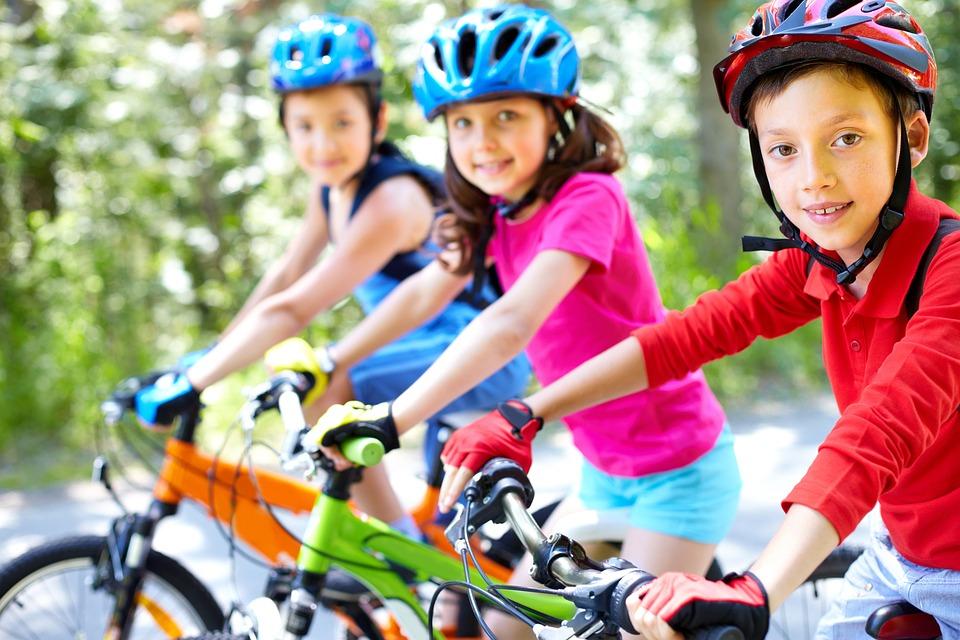 Bike, Children, Cycling, Passes, Group Of Children