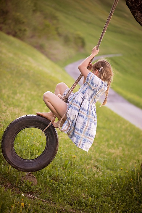 Human, Child, Girl, Blond, Barefoot, Mature, Swing