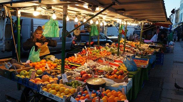 Mercado Mercadillo Ciudad Fruta Vender Ven