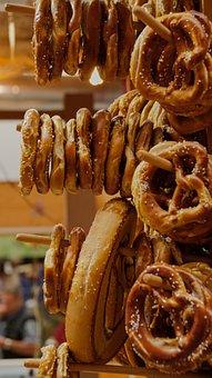 Pretzel, Bread, Market, Stall, Food