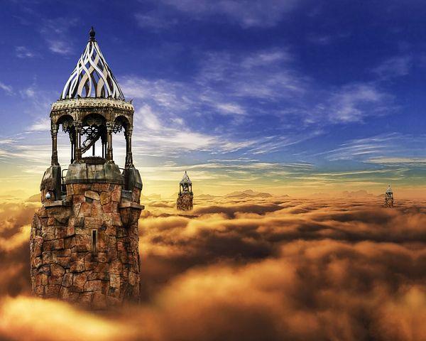 Fantasy, Castle, Cloud, Sky, Tower