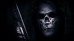 skull, hood, sword