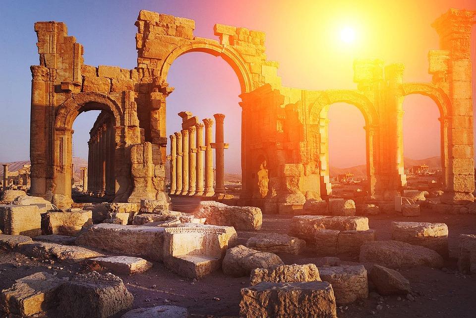 古代, 円柱状の, 遺跡, レート ロマンス語, テンプル, サンセット, フラグメント, 歴史, ギリシャ