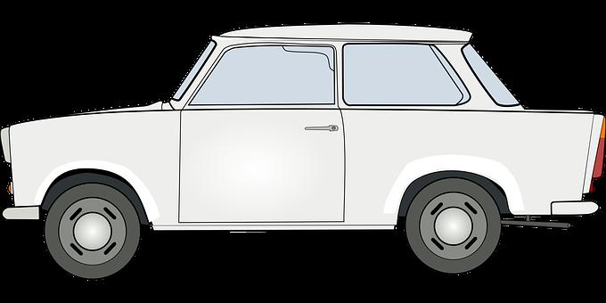 Trabant, Car, Transport, White, Drive