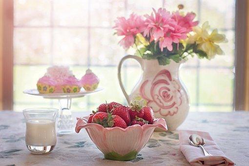 苺, ボウル, 夏, フルーツ, 朝食, クリーム, フルーツ, フルーツ