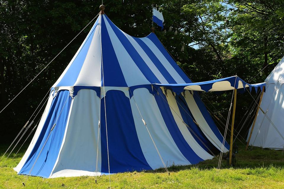 tent ritterzelt blue white striped easily & Free photo: Tent Ritterzelt Blue White - Free Image on Pixabay ...