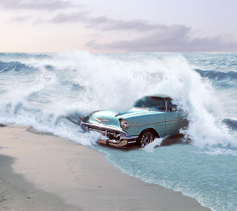 Free Illustration Car Reborn Chevrolet Sea Waves