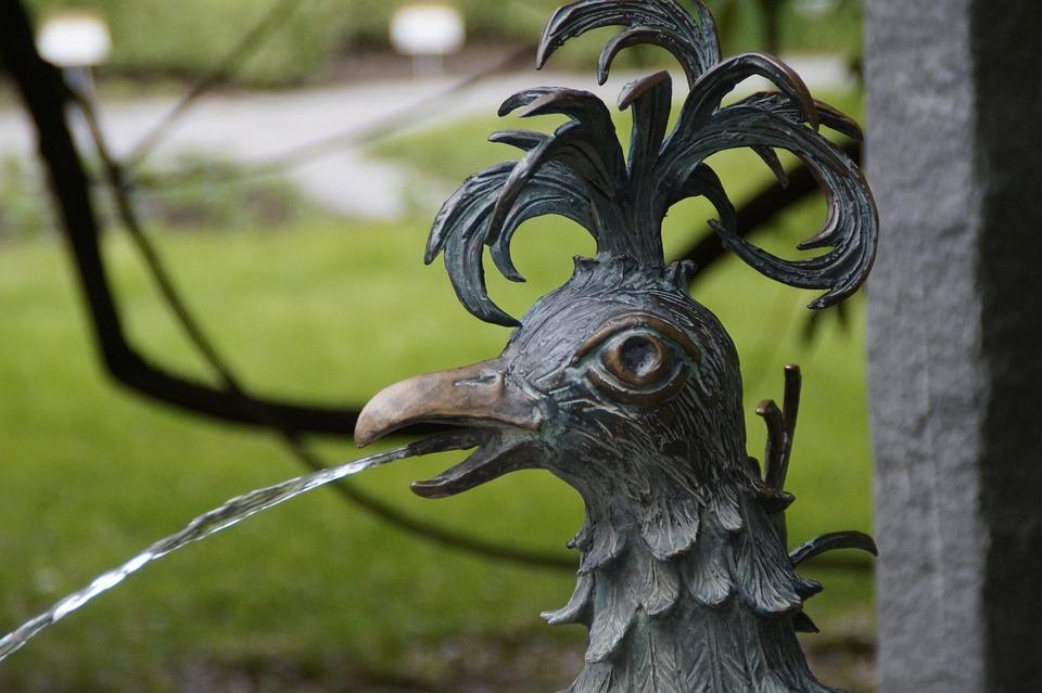 ハーン, 噴水, 金属, 彫刻, 動物, 鳥, ガーゴイル, 串, ウォーター ジェット, 像